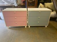 MAMAS AND PAPAS BLUE & PINK GOOD BRAND WOODEN CHEST DRAWERS SET BOTH FOR 99 POUND CAN DELIVER