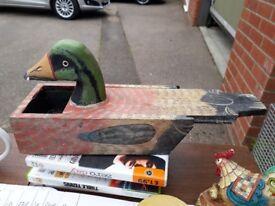 Duck wooden trinket storage box pot.