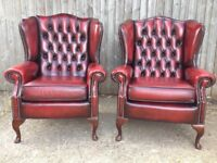 Pair of Chesterfield Queen Anne Wingback Armchair s in Red Oxblood Leather