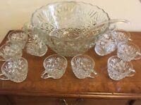 Vintage Glass Punch Bowl, Gasses & Ladle