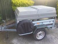 "Larger Daxara 158 tipping trailer + hardtop/spare wheel 13"" wheels"