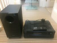ONKYO S-3305 Hifi amplifier, sub woofer and remote (no speakers)