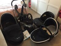 Silver Cross Surf (Navy) Pram, carrycot, car seat and many accessories