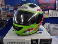 Steepletone Motorcycle Helmet Sound System iPod Dock MP3 Moto GP Style (Green)