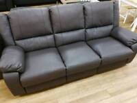 Brown 3 seater real leather recliner
