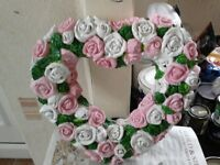 new stone wild rose heart, made to order can paint any colour,