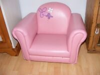 Little girls pink comfy padded armchair