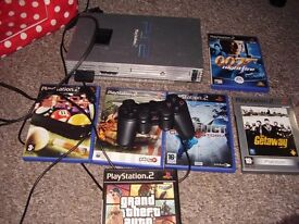PLAYSTATION 2 WITH GAMES SAN ANDREAS AND BLACK MONDAY 2 OF THE GAMES