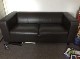 Large faux leather brown sofa