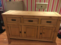 Solid Wood Large Sideboard With 3 Drawers and 3 Doors With Shelves, Brand New, Was £400
