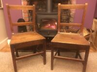 2 Antique Oak Chairs, a bit wobbly so could do with a bit of attention