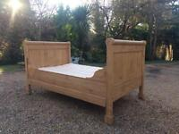 Antique Solid Pine Sleigh Bed & Luxury Mattress