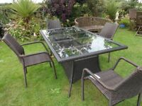 LARGE RATTAN GARDEN SET -- TABLE AND 4 CHAIRS --
