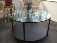 Glass top round small table