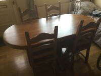 Solid Oak Table & 6 Matching Chairs