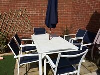 White Metal Rectangle Patio table and Six Chairs