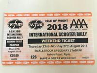VFM Isle of Wight scooter rally Access all areas weekend tickets.