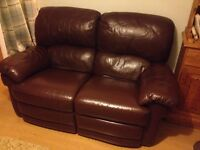 Reclining Sofas......2 seater and 3 seater dark brown leather sofas