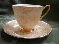 VINTAGE ROYAL ALBERT GOSSAMER BUTTERSCOTCH MARBLE CUP & SAUCER