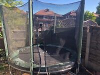 Free Plum Trampoline 8ft - needs new pads and net - They frayed when I jet washed trampoline