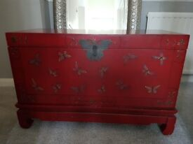 Decorative Red Butterfly Storage Chest
