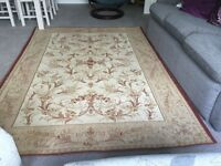 Laura Ashley Malmaison gold and ivory traditional cotton and wool rug. Excellent condition.