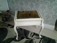 Vintage shabby chic dressing table / piano stool with lift up lid