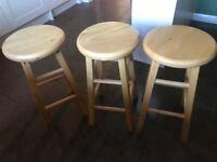 Solid line kitchen stools, set of three