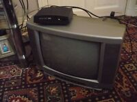 PORTABLE TV AND NEW SET TOP BOX.