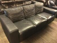 As new black leather 3 seater sofa