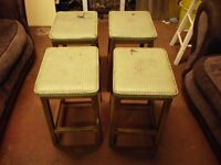 4 RETRO KITCHEN STOOLS FROM ( LEWIS'S LEEDS 1940/50s )