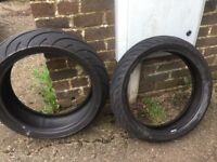 Michelin Pilot Road 2 tyres 120/70 ZR17 and 190/50 ZR17 almost new condition