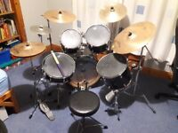 Gretsch Black Hawk Drum Kit with 5 drums, 5 symbols and other extras