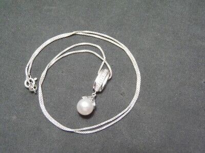 AV 925 Sterling Silver~0.1 TCW~5 Diamond~8 mm Akoya Pearl~Pendant & 18