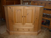 Pine Television cabinet, good condition with large cupboard and drawer at base.