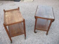 TWO ANTIQUE SOLID WOODEN TABLE/HOSTESS TROLEY DROP LEAF SHABBY CHIC PROJECT OR RE-VARNISH
