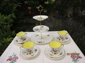 Beautiful Bone china Old Royal teaset with cake stand