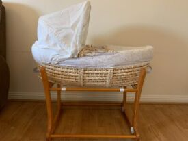 Moses basket & rocking frame - good condition - bought from Mothercare