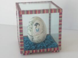 Chinese Hand Painted Egg Vintage Ornament From 1961 In Silk Edged Display Case. Very Good Condition