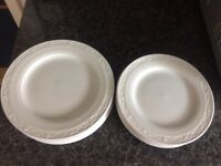 SET 6 x WHITE DINNER PLATES AND 7 x DESSERT PLATES BY CHURCHILL MADE IN ENGLAND