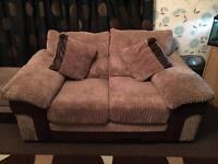 Brown sofa set & storage foot stool