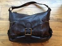 Dark Brown Leather Shoulder Bag with Antique Bronze Buckles and Zips