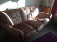 Extremely comfortable brown leather 2 & 3 seater sofas going FREE