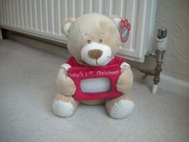BRAND NEW FIRST CHRISTMAS BEAR WITH PHOTO FRAME