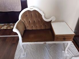 Telephone Seat Table Desk Chair Shabby Chic Chaise