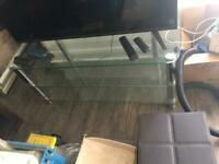 Large glass tv stand 3 tier