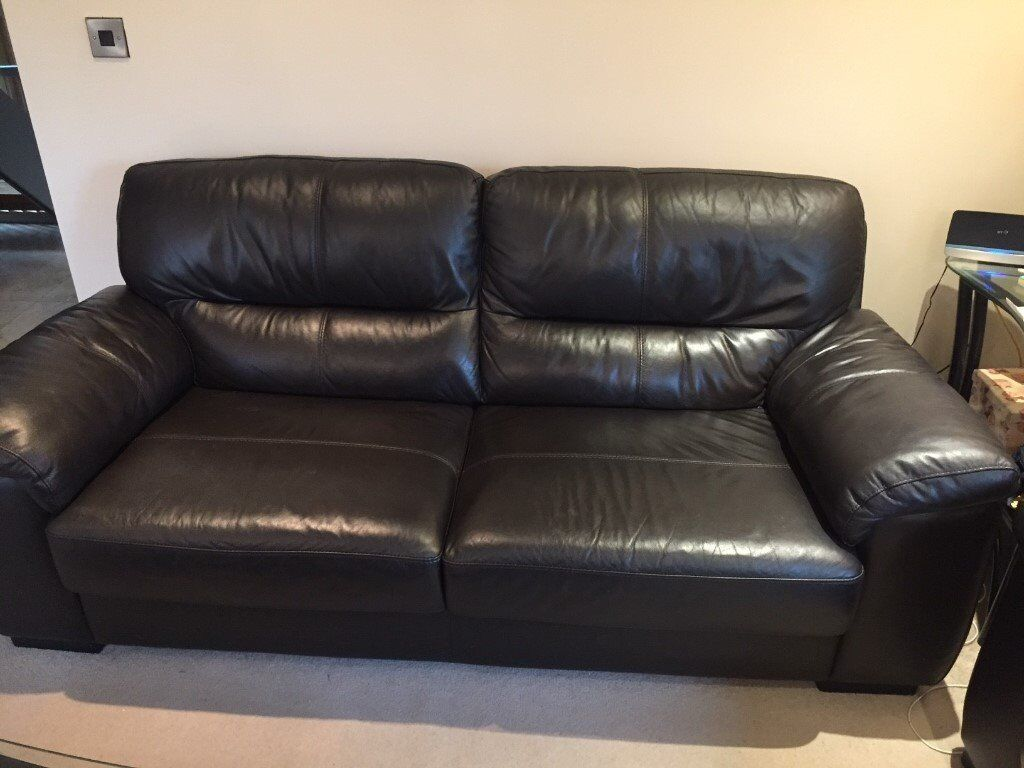 Espresso Colour Leather Sofa Set