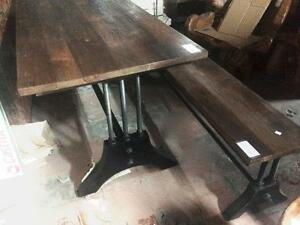 Table + 2 bancs Bois et Rod Acier style Industriel // Industrial style Wood Steel Table + 2 Benchs - from Indonesia