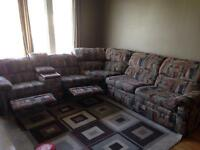 Double recliner couch with pull out bed