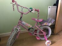 Girl Disney Princesses bike (age 3-5) with stabilisers, doll seat